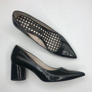 Zara basic heel point toe patent leather pump